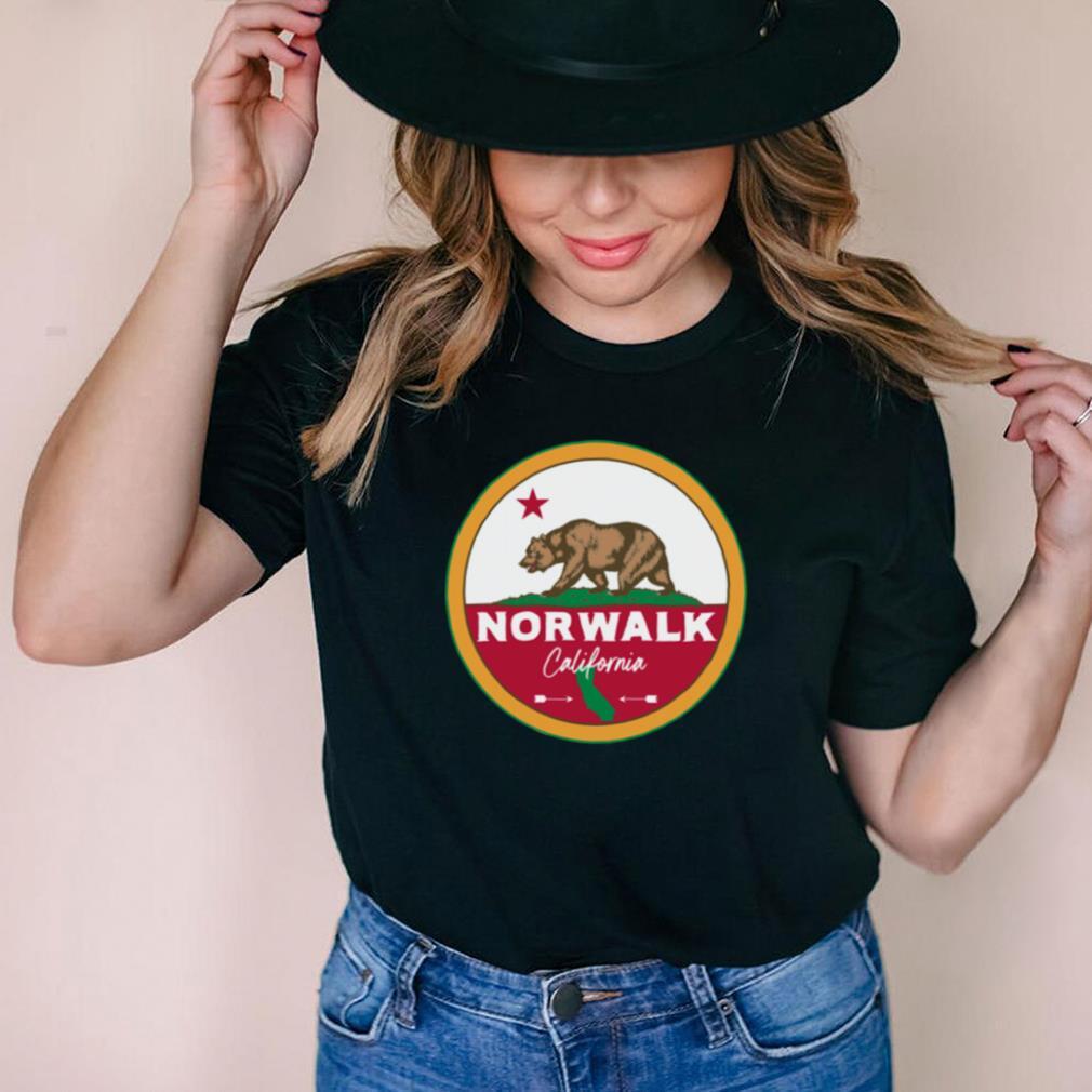 I Love Norwalk California CA Flag and Bear Badge shirt
