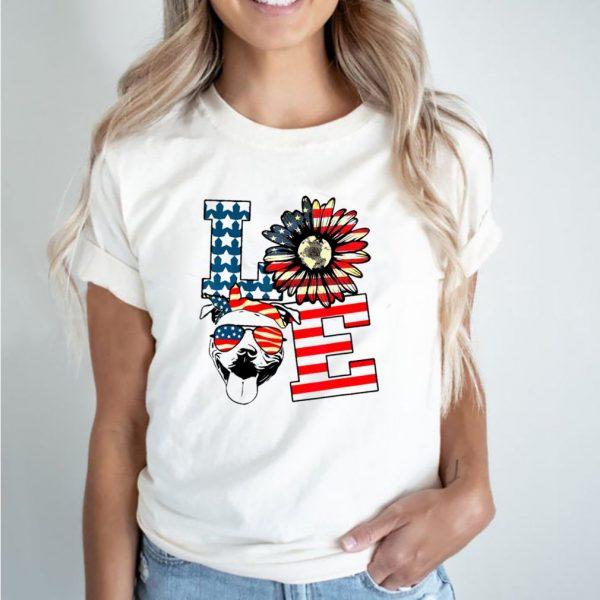 Love sunflower american flag shirt
