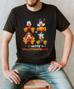 Mickey Mouse Disney Halloween And Merry Christmas Happy Hallothanksmas shirt