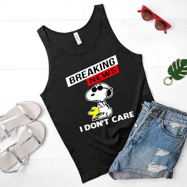 Snoopy breaking news I don't care shirt