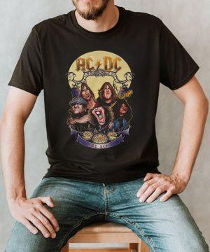 The Ac Dc Rock Band Comic Halloween Moon shirt