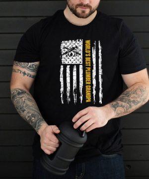 Worlds Best Plumber Grandpa With American Flag shirt