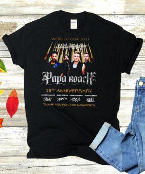 World tour 2021 Papa Roach 28th Anniversary thank you for the memories shirt