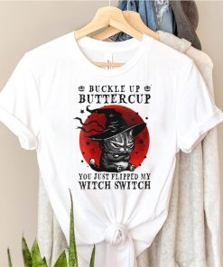 Womens Cat Buckle Up Buttercup You Just Flipped My Witch Switch V Neck T Shirt (2)