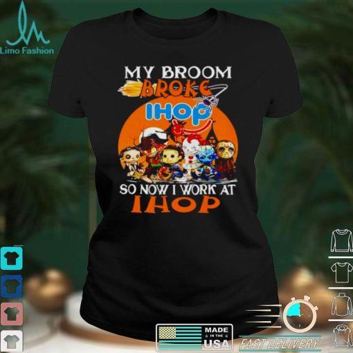 Awesome horror Halloween chibi my broom broke so now I work at Ihop shirt