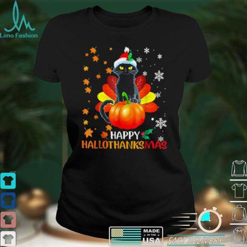 Black Cat Halloween And Merry Christmas Happy Hallothanksmas T Shirt