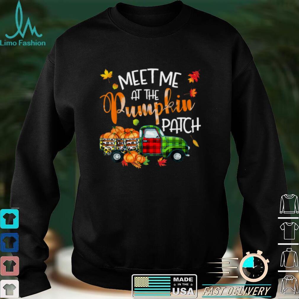 Meet Me At The Pumpkin Patch Thanksgiving Xmas Leopard Plaid T Shirt