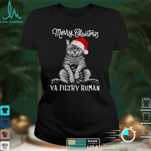 Merry christmas ya filthy human cat santa shirt
