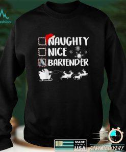 Official Naughty Nice Bartender Christmas Pajama Xmas T Shirt
