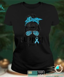 Official Support Squad Messy Bun Leopard Type 1 Diabetes Awareness T Shirt