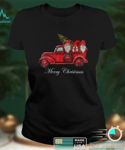 Official Three Gnomes in Red Truck With Merry Christmas Tree T Shirt