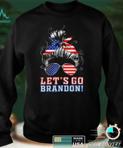Official Womens Lets go Brandon Messy Bun T Shirt